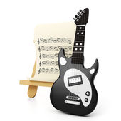 Graphic representation of a black electric guitar and a sheet wi — Stock fotografie