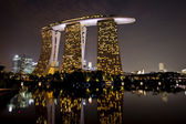 Marina bay sands hotel in dusk — Stock Photo