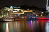 Clarke Quay riverside point at night — Stock Photo