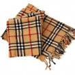 Brown plaid scarf on white background — Stock Photo