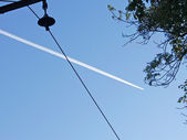 Track aircraft in blue sky — Stock Photo