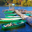 Boats and other craft are tied near the old pier — Stock Photo