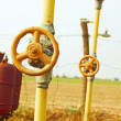 Natural gas station among fields — Stock Photo