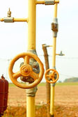 Natural gas station among field — Foto de Stock