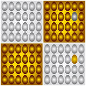 Golden brown and grey silver eggs vector illustration — Stock Vector