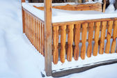 Detail of outdoor porch in winter — Stock Photo