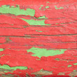 Wooden boards painted in red and green — Stock Photo