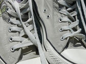 Old sport shoes close up — Foto Stock