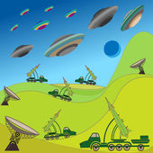 Flying plates of aliens are attacking the Earth — Stock Vector