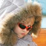 Portrait of cute little girl in winter season — Stock Photo