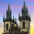 Stock Photo: Tyn Church in Prague at sunset