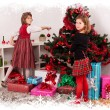 Kids with their christmas presents — Foto Stock