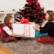 Happy kids with christmas present — Stock Photo #13980894