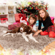 Kids with their christmas presents — ストック写真