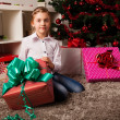 Happy kids with christmas present — Foto Stock