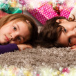 Kids with their christmas presents — Stock Photo #13982565