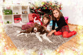 Kids with their christmas presents — Stock Photo