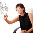 Young woman drawing recycle globe on whiteboard — Stock Photo #14580093