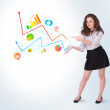 Young business woman presenting colorful charts and diagrams — Stock Photo