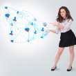 Young business woman presenting social map — Stock Photo