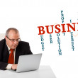 Bisinessman sitting at desk and looking laptop with business wor — Stock Photo #15767677