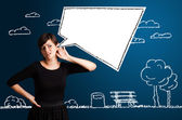 Young woman with abstract modern speech bubble — Stock Photo