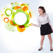 Young business woman presenting abstract copyspace — Stock Photo #16641989
