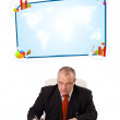 Businessman sitting at desk with copy space — Stock Photo