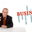 Stock Photo: Businesmsitting at desk with business word cloud