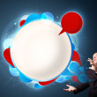 Funny businessman presenting abstract modern speech bubble copy — Stock Photo #16642301