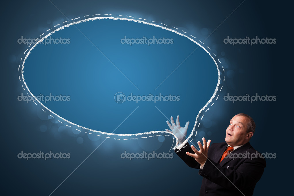 Funny businessman in suit presenting speech bubble copy space  Stock Photo #16642313