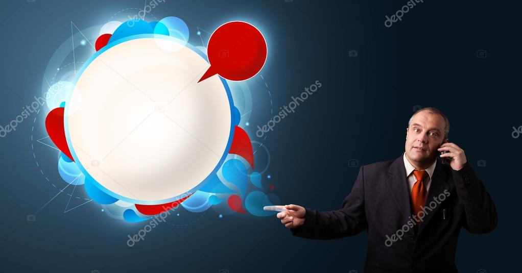Businessman in suit making phone call and presenting abstract modern speech bubble with copy space — Stock Photo #16642471