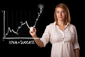 Woman drawing graph on whiteboard — Stock Photo