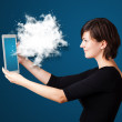 Young woman looking at modern tablet with abstract cloud — Stock Photo #20128353