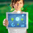 Young woman looking at modern tablet with abstract light and var — Stock Photo #20128373