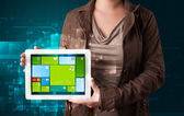 Lady holding tablet with modern software operational system — Stock Photo