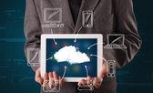 Businessman showing hand drawn cloud computing — Stock Photo