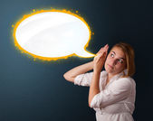 Young woman with modern speech bubble — Stock Photo
