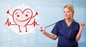 Docteur attrayant avec happy rouge souriant coeur — Photo