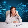 Businesswoman doing paperwork with futuristic background — Stockfoto