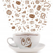 Royalty-Free Stock Photo: Coffee-mug with hand drawn media icons