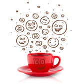 Coffee-cup with brown hand drawn happy smiley faces — Stock Photo