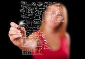 Kvinna ritning business system och ikoner på whiteboard — Stockfoto