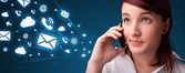 Young lady making phone call with message icons — Stockfoto