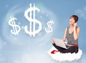 Young woman sitting on cloud next to cloud dollar signs — Stock Photo