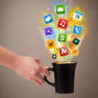 Coffee mug with colorful mediicons — Stock Photo #24699715