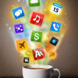 Stock Photo: Coffee mug with colorful mediicons