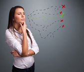 Mladá žena, volba mezi správné a nesprávné znaky — Stock fotografie