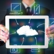 Businessman showing hand drawn cloud computing — Stok fotoğraf