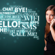 Royalty-Free Stock Photo: Young girl calling by phone with word cloud